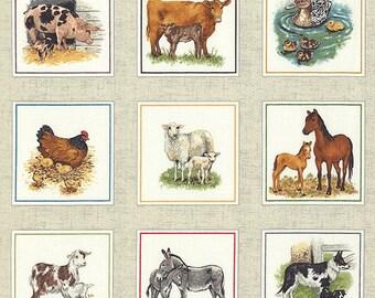 "Farm Animals Barnyard Frames Fabric Panel Makower UK 24x44"" Free Shipping"