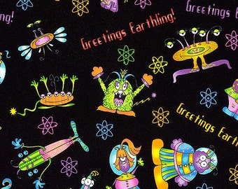 Greetings Earthling Welcome To My World Children Fabric RJR 1/2 Yard Free Post