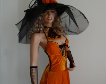 Beautiful Wicked Wicked  Orange-Black Witch/Modern Witch/Good Witch/Witch of Oz/Gothic Witch/ Odd Witch Completed Costume Set Size M 10-12