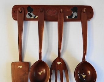 Vintage Country Amish and Ducks Wooden Wall Hanging Cooking Tools Fork/Spoons/Farmhouse/Country Chic/