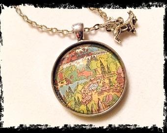 Disneyland inspired, disneyland map jewelry, big thunder ranch, vintage disneyland map, vintage disney map