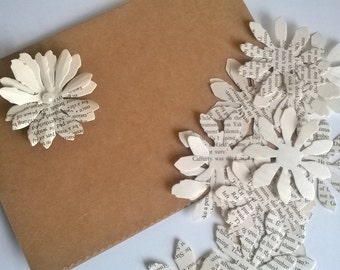 100 Gerbera, daisy paper book petals flowers, embellishment, Craft project,  Wedding decor, Home Decor