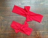 Red Mommy and Me Headband – Matching Mommy Baby - Top Knot Headband Set - Mom and Baby Girl Headband - Matching Headband Set - Knotted Head