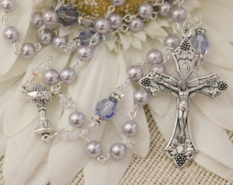 Catholic Swarovski Lavender Pearl First Holy Communion Rosary