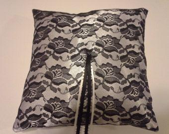 Black and white ring pillow Black lace & white satin ring bearer pillow