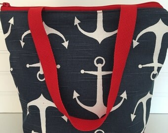 Lunch Tote, Lunch Bag, Nautical, Navy anchors Bag, Insulated , Camp Lunch Bag