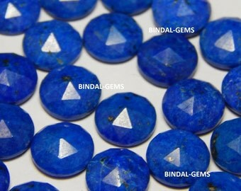 25 Pieces Wholesale Lot Natural Lapis Lazuli Round Shape Rose Cut Gemstone For Jewelry
