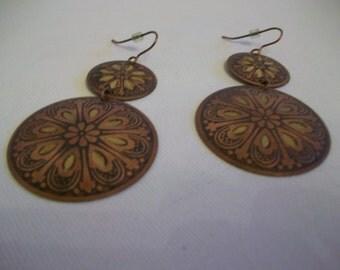 SALE, 1980s Copper Dangly Disc Etched Earrings, Pierced