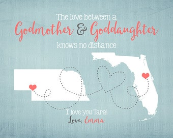 Godmother, Goddaughter, Godson Gift - Long Distance Friend, Gift for Best Friend Godmother, Aunt, Niece, Daughter, Son, Moving Gift | WF122