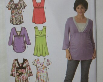 Simplicity 3762 Misses (Size H5 6,8,10,12,14) and (Size R5 14,16,18,20,22) maternity tops and woven tops
