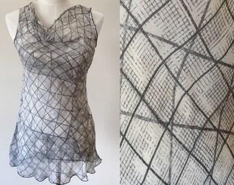 grey vintage top // sheer blouse // sheer gray vintage top