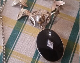 Antique Black Onyx Diamond Necklace