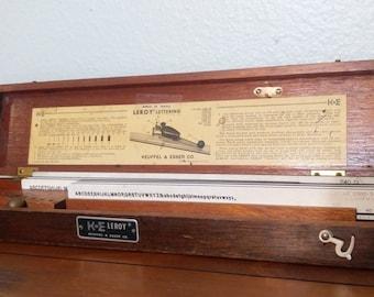 1950s Keuffel and Esser Leroy lettering set, wooden storage box, 7 templates, Scriber arm, vintage lettering, office decor