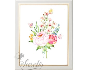Watercolor Flowers Print, Watercolor Peony Bouquet, Watercolor Butterflies Printable, 8x10, Instant Download JPG & PDF Art Print, Home decor