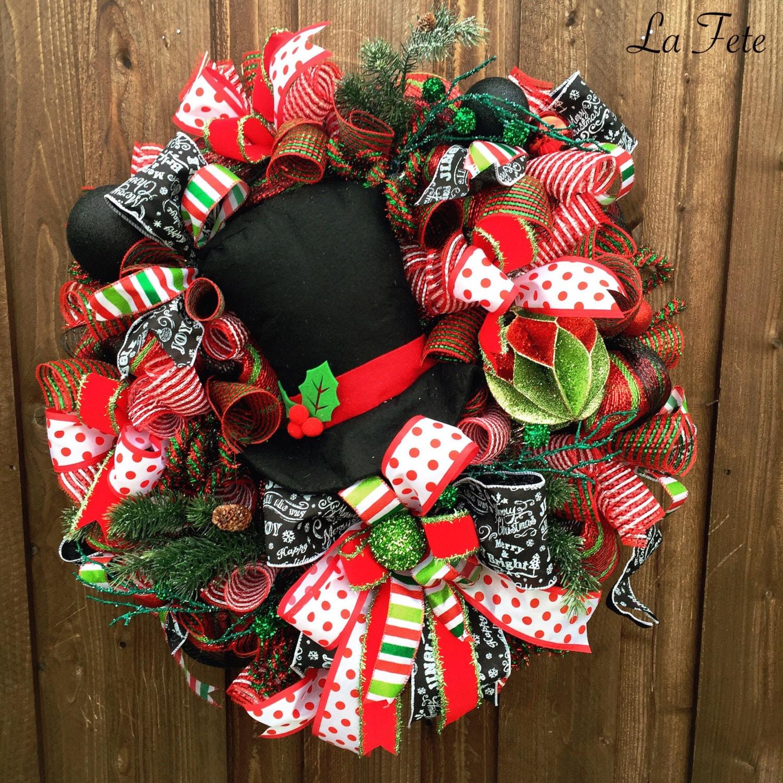Deco Mesh Wreath Christmas Wreath Snowman Wreath By