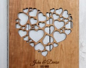 Heart of Hearts - Customizable Modern Wooden Sign, Engraved Wood Wall Hanging Sign