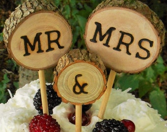 Rustic wedding Cake Topper,Wedding cake topper, Tree slice cake topper, Wood Cake Topper, Mr and Mrs,  country wedding