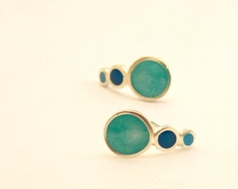 Drop stud earrings -  Sterling Silver Ear Studs - Turquoise - Bubble  earrings -  Spring - Summer  - Valentine's Day