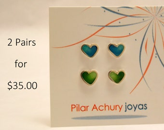 Stud earrings set of 2 pairs -  Sterling Silver Ear Studs - Heart stud set - Spring - Valentine's Day - Color combination -Green - turquoise
