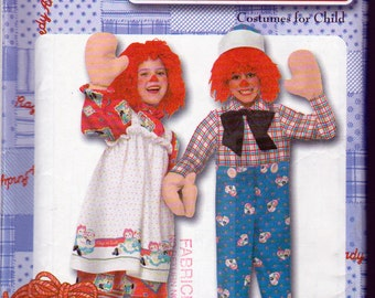 Raggedy Ann and Andy Costume Pattern, Kids Sizes 3,4,5,6,7,8, Simplicity 9375, Uncut, Costume, Mitts and Wig Instructions Included