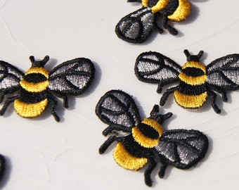Yellow Black Bee Applique, Vintage Embroidered Applique Bee, Iron On Embroidery Appliques Wholesale #1256