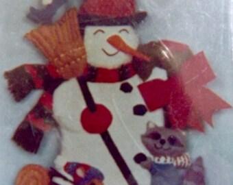 Felt Bead Sequins Kit~SNOWMAN+woodland ANIMALS Hanging/Door decor~18x14~MIP~Xmas