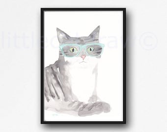 Cat Print Tabby Cat with Mint Glasses Watercolor Painting Print Cat Lover Gifts Cat Art Watercolor Cat Hipster Cat Geek Cat Wall Art