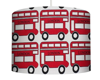 Red London Bus Cotton Fabric Drum Lampshade ideal for a Childs/boys bedroom, Small Lampshade 20cm - Large Lampshade 40cm or Custom Order