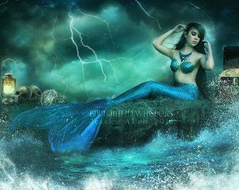 blue and green fantasy mermaid with treasure art print