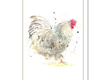 Podge the Cockerel Cotton Tea Towel - Country Kitchen Gift, Barnyard, Gift for Chicken Lovers