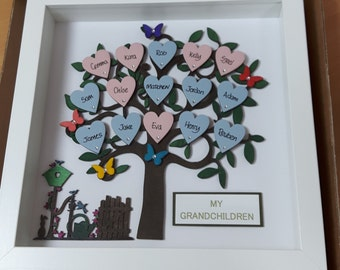 Handmade Framed Wooden Family tree with up to 15 Names and name Plaque