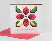 3D Layered Geometric Poinsettia Holiday Card