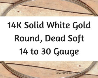 14K Solid White Gold Wire, 14 16 18 20 21 22 24 26 28 30 Gauge, Round, Dead Soft, 14K White Gold Wire W/Nickel