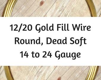 12/20 Gold Filled Wire, Round, Dead Soft, 14 Gauge, 16 Gauge, 18 Gauge, 20 Gauge, 22 Gauge, 24 Gauge, Gold Wire