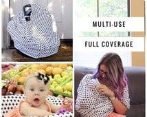 SALE Nursing Cover Scarf, Breastfeeding Scarf, Nursing Poncho, Nursing Scarf, Infinity Scarf, Breastfeeding Cover, BLACK CROSS