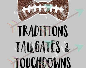 Football Bow - Traditions, Tailgates & Touchdowns CUT FILE