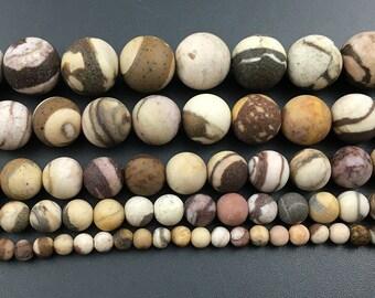 Natural Australian Zebra Jasper Gemstone Beads, Stone Beads, Matte Beads, Round Beads, Jewelry Making Beads 4mm 6mm 8mm 10mm 12mm