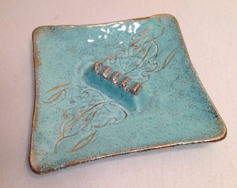 Vintage Mid Century California Original Pottery Light Blue or Baby Blue & Gold Speckled Square Ceramic Ashtray, Decorative Tray Dish