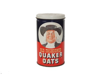 Vintage Quaker Oats Old Fashioned Oatmeal Kitchen Metal Tin
