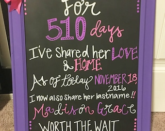 Chalkboard adoption adopting photos sign family announcement