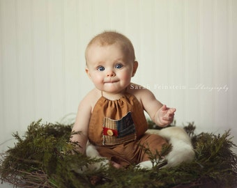 Baby Boy Romper 3-6 months Sitter Infant Boy Romper Photo Props Tan Romper Boy Photography Props