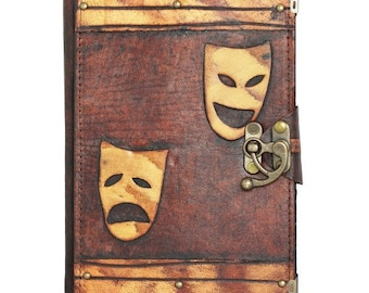 Happy Sad Mask Drama Decoration Refillable on a Brown Leather Journal Notebook Daily Diary Sketchbook Pad Handmade Pocket Book Women Men