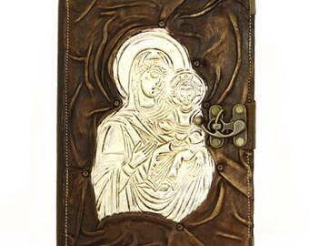 Baby Jesus Dark Brown Large Handmade Refillable Genuine Leather Journal Diary Sketchbook Notebook Sketchpad Vintage Leather Bound