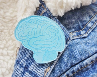 Brain Blue Weird Science Anatomy Anatomical Biology Body Parts Organ Brain Pin Badge Brooch