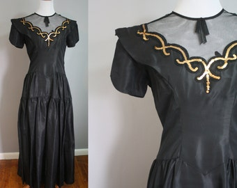 Late 1940's Dress // Sequined with Netting // Small