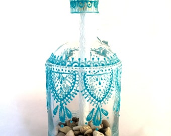 Hand Painted Wine Bottle Tiki Torch (Teal)