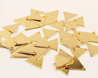 Triangle connector, S12-G2, Nickel Free, 20 pcs, Triangle pendent, 15mm, 0.75mm thick, 2 holes, Gold plated brass, Stamping blank, G56-04
