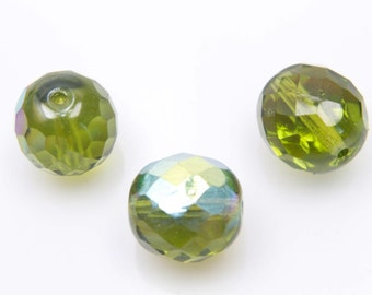 Fire polished, 10mm, 20 pcs, 1.1mm hole, Olivine AB, Faceted round, Czech glass beads, 50230/28701, FP10-35