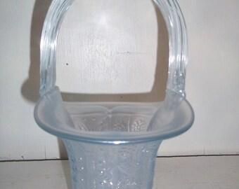 Beautiful Blue Iridescent Fenton Glass Butterfly & Berry Basket