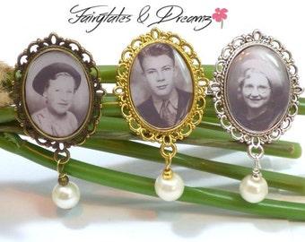Silver/Bronze/Gold Memorial Photo Brooch, Wedding Brooch, Photo Jewellery, Memorial Jewellery, Wedding Keepsake, Photo Pin, UK, 18x25 Photo